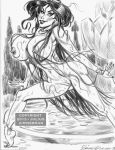 2013 aladdin_(series) babe beautiful big_breasts black_hair breasts disney earrings fountain hair julius_zimmerman_(artist) legs lipstick long_hair monochrome necklace nude princess_jasmine pussy smile water wet