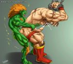 2boys anal bara blanka bondage bound cum gay hotcha human male male_only multiple_boys muscle partially_clothed penis street_fighter yaoi zangief