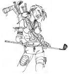 casey_jones gender_bender golf_club hockey_mask lineart teenage_mutant_ninja_turtles