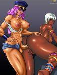abs anal big_breasts breasts dark_skin elena futanari hair hat headgear intersex pink_hair poison pussy street_fighter white_hair