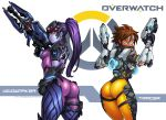2_girls 2girls ass big_ass breasts brown_eyes brown_hair character_name clothes darkereve_(artist) darwin_nunez dat_ass dual_wielding earrings female freckles gun handgun happy head_mounted_display highres hips jewelry lips long_hair looking_at_viewer multiple_girls overwatch pants pistol ponytail pout purple_hair purple_skin rifle short_hair smile sniper_rifle thighs tracer_(overwatch) visor weapon wide_hips widowmaker widowmaker_(overwatch)
