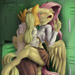 2014 absurd_res against_wal anthro applejack bite blonde_hair blush breast_grab breasts closed_eyes clothing dickgirl dickgirl_on_female duo earth_pony equine female fluttershy freckles friendship_is_magic fur furry grope hair hi_res horse intersex locker mammal my_little_pony open_mouth orange_fur pegasus penetration penis pink_hair pony school school_uniform schoolgirl schoolgirl_uniform sex skirt vaginal vaginal_penetration wings xanthor yellow_fur