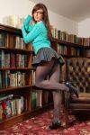 bookshelf female schoolgirl skirt stockings sweater