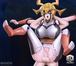 alexis_rhodes big_breasts blond_hair breasts couple erodraw_(artist) full_nelson hair sex torn_clothes vaginal_penetration whentai yellow_eyes yu-gi-oh! yu-gi-oh!_gx