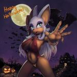 2014 anthro bat big_breasts blue_eyes breasts building cleavage clothed clothing cosplay drxsmokey english_text erect_nipples eyelashes female furry halloween holidays mammal moon navel night open_mouth outside pumpkin rouge_the_bat sega skimpy sonic_(series) standing text vampirella