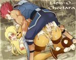 1boy 1girl absurdres all_fours anal ass big_breasts blush breast_grab breasts cheetara clothed_sex cum cum_in_pussy cum_inside cum_on_ass cum_on_body cum_on_lower_body doggystyle feet grabbing highres lion-o long_hair looking_at_viewer looking_back open_mouth penis pussy sex testicles thundercats toeless_legwear toes uncensored vaginal x-teal2