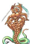 _rebis artist_rebis big_breasts censored cock dark dick female jewlery multiarms multiple_cock multiple_dick multiple_limbs multiple_tails muscular muscular_female naga nipple_percing nipples ornaments rebis six_arms sixarms skin snake sword tail tails weapon weapons white_hair