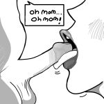 comic english_text fellatio greyscale incest milf mom monochrome mother_and_son mouth_open open_mouth penis son taboo text timer tongue tongue_out young