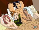 4_girls 4girls bed blond_hair blue_bully brown_hair cigar closed_eyes earrings ebony emma_frost eye_shadow gloves hand_on_chest harem jean_grey marvel nude pimp playa red_hair red_lipstick rogue satisfied sleeping storm white_hair wolverine wolverine_and_the_x-men x-men