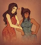 2_girls 2girls ;) alternate_costume art asami_sato avatar:_the_last_airbender babe bare_shoulders black_hair blue_dress blue_eyes blush breasts brown_hair china_dress chinese_clothes commentary cowboy_shot dark_skin dress eyeshadow female floral_print green_eyes hair_tubes hand_on_hip heart high_ponytail iahfy interracial k-y-h-u korra legend_of_korra lipstick locked_arms long_hair makeup multiple_girls one_eye_closed parted_lips ponytail red_dress side_slit sidelocks sleeveless sleeveless_dress smile standing the_last_airbender:_the_legend_of_korra the_legend_of_korra yuri