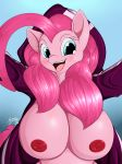 1girl 1girl 2016 absurd_res anthro anthrofied areola big_breasts blue_eyes blush breasts clothed clothing earth_pony equine eyelashes friendship_is_magic furry hair high_res horse huge_breasts looking_at_viewer mammal my_little_pony nipples open_mouth pink_hair pinkie_pie_(mlp) pony suirano tongue