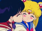 2girls bishoujo_senshi_sailor_moon black_hair blonde blonde_hair blush cheek_kiss choker closed_eyes earrings female friends from_behind hair hino_rei jewelry kiss kissing long_hair love magical_girl multiple_girls mutual_yuri rei_hino sailor_mars sailor_moon school_uniform serafuku smile tiara tsukino_usagi usagi_tsukino yuri