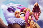 equine fluttershy friendship_is_magic gilda gryphon my_little_pony open_mouth ponythroat tongue vore