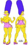 1girl ass breasts clothes female hands_on_ass hands_on_own_ass happy hips josemalvado large_ass large_breasts large_lips lips looking_at_viewer marge_simpson milf nipples pussy round_ass slut solo the_simpsons toes white_background whore wide_hips yellow_skin
