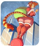 2014 anthro ass belt big_ass boots breasts cat christmas city clothed clothing feline female green_eyes hair high_heels holidays jaeh legwear looking_at_viewer loree low-angle_shot mammal one_eye_closed orange_hair outside sack santa_claus short_hair skyscraper smile snow solo standing stockings stripes thick_thighs wide_hips