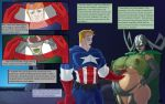 2015 avengers bed bedroom big_breasts breasts captain_america comic hela lipstick lurkergg lurkergg_(artist) marvel muscle pillow pregnant shield smile steve_rogers text the_avengers:_earth's_mightiest_heroes window