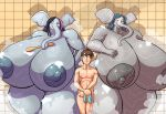 2014 anthro areola big_breasts breasts elephant erect_nipples female group huge_breasts human hyper hyper_breasts jaeh male mammal nipples shower size_difference