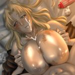 1boy 1girl areola areolae balalaika balalaika_(black_lagoon) big_breasts black_lagoon blonde_hair blue_eyes breast_squeeze breasts cleavage cum cum_on_body cum_on_breasts cum_on_upper_body facial female hetero huge_breasts large_breasts lying male_pubic_hair mole navel nipples on_back paizuri paya paya_(paya19891115) penis pubic_hair scar scars sweat