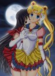 2girls art artemisumi artemisumi_(artist) babe bishoujo_senshi_sailor_moon black_hair blonde blonde_hair blue_eyes breast_grab breasts double_bun dress earrings elbow_gloves female friends full_moon gloves hair hair_bun hair_ornament high_res jewelry looking_at_viewer magical_girl moon multiple_girls night red_eyes rei_hino sailor_mars sailor_moon skirt usagi_tsukino very_long_hair white_gloves yuri
