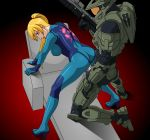 1boy 1girl animated animated_gif arm_support armor ass bent_over bodysuit clothed_sex crossover gif halo halo_(game) high_heels latex latex_suit master_chief metroid nintendo penis pinoytoons ponytail samus_aran sex uncensored vaginal weapon zero_suit