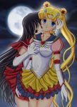 2girls art artemisumi artemisumi_(artist) babe bishoujo_senshi_sailor_moon black_hair blonde blonde_hair blood blue_eyes breast_grab breasts double_bun dress earrings elbow_gloves female friends full_moon gloves hair hair_bun hair_ornament high_res jewelry looking_at_viewer magical_girl moon multiple_girls night red_eyes rei_hino sailor_mars sailor_moon skirt usagi_tsukino very_long_hair white_gloves yuri