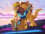 2015 anthro biceps bowser box breasts claws clothes clothing collar dinosaur duo eyes female genesis_(kabier) gun hetero horn interspecies kabier_(artist) koopa male muscle nintendo nipples penetration pistol ranged_weapon raptor red_eyes scales scalie sex spiked_collar suit super_smash_bros. toe_claws torn_clothing video_games weapon zero_suit