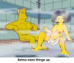 homerjysimpson ranier_wolfcastle sauna selma_bouvier the_simpsons yellow_skin