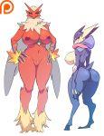 2girls anthro big_breasts blaziken breasts greninja looking_back maniacpaint multiple_girls nipples pokemon pussy sideboob