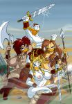 axe barbarian big_breasts breasts donald_duck lordstevie lordstevie_(artist) multiple_girls nipples spear sword tattoo weapon