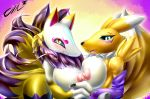 anthro areola blush breasts canine claws close-up clothing crossover digimon female female/female fox fur furry gloves hand_holding kyuubi_(youkai_watch) looking_at_viewer mammal nipples nude open_mouth renamon sharp_claws sharp_teeth smile tailzkim teeth tongue youkai_watch