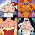 4_girls areolae arm arms babe bare_shoulders big_breasts black_hair blonde blonde_hair bow bowtie bracelet breast_grab breasts breasts_out cape cleavage collarbone dark_skin dc_comics dc_universe dcau detached_collar female gloves hair hands head_out_of_frame highres large_breasts light_skin long_hair magician multiple_girls nail_polish name_your_order neck nipple_tweak nipples orange_hair orange_skin power_girl shiny shiny_skin short_hair starfire strapless suit upper_body white_gloves wonder_woman wonder_woman_(series) zatanna zatanna_zatararn