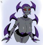 1girl alien ashesg ben_10 ben_10:_omniverse bracelet giant grey_skin mutant_to'kustar red_eyes shiny shiny_skin skirt topless way_bad