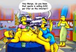 cum handjob homer_simpson marge_simpson nude patty_bouvier penis selma_bouvier the_simpsons yellow_skin