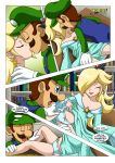 2_girls amy_rose clothed comic dress dress_lift kissing luigi mario_bros mobius_unleashed palcomix panties princess_rosalina sonic_the_hedgehog