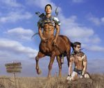 2015 2boys abs animal_genitalia armor arrow biceps black_hair bondage bow brown_fur brown_hair centaur chains clothed clothing cloud edit equine fantasy flaccid forced fur furry hair half-dressed half-erect hooves horny horse horsecock human hunter imminent_rape looking_at_viewer male male/male male_only mammal master multiple_boys muscle mythology nipples pecs penis photo_manipulation photomorph plains shackles sign slave stare taur testicles text thurinion vein warning yaoi