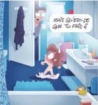 2boys bathroom bichon blue_eyes brown_hair embarrassing french glasses hair multiple_boys nude rubber_duck shiny shiny_skin short_hair surprise sweat_drop towel