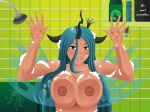 1girl areola big_breasts blue_hair breast_press breasts changeling erect_nipples evov1 fangs female friendship_is_magic gif green_eyes horn human humanized large_breasts lick licking looking_at_viewer mammal my_little_pony nipples nude queen_chrysalis shower smile solo tongue tongue_out very_long_hair water wet wings