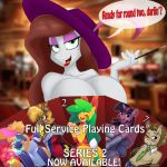 0r0ch1 1girl 2015 3mangos animal_ears anthro beauty_mark blue_eyes card cigarette cigarette_holder cleavage clothed clothing dialogue doctor_whooves_(mlp) english_text fan_character feathers friendship_is_magic full_service_(oc) furry green_eyes hat jrvanesbroek kevinsano lagomorph lipstick mammal mango_(character) my_little_pony photo_background rabbit rabbit_ears skoon text twilight_sparkle