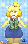 1girl 1girl animal_crossing breasts brown_eyes canine chubby clothing dog isabelle kemono mammal nekocrispy nintendo patreon skirt text thick_thighs video_games wide_hips