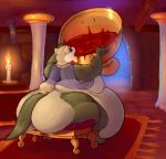 1girl 1girl alcohol anthro ass belly beverage big_breasts bracelet breasts candle clothing dawmino drinking ear_piercing ferret fire fur gold_(metal) high_res jewelry mammal morbidly_obese mustelid necklace nipples nude obese open_mouth overweight piercing stuffing wine