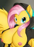 1girl 1girl 2016 anthro anthrofied areola big_breasts breasts clothed clothing equine feathered_wings feathers fluttershy_(mlp) friendship_is_magic furry hair high_res hoodie huge_breasts looking_at_viewer mammal my_little_pony nipples pegasus smile suirano wings yellow_feathers