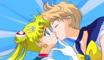 2girls arm art bishoujo_senshi_sailor_moon blonde_hair blue_background blue_eyes chin_grab choker closed_eyes collarbone dress earrings gem gloves hair hair_bun hair_ornament haruka_ten'ou jewelry kissing light_brown_hair long_hair looking_at_another love magical_girl multiple_girls neck ribbon sailor_moon sailor_uranus school_uniform serafuku short_hair surprised ten'ou_haruka tiara tsukino_usagi upper_body usagi_tsukino yuri
