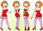 big_breasts family_guy lois_griffin looking_to_viewer make_up micro_dress mini_dress nipples red_dress red_shoes stockings suspenders