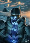 armor ass blue_hair blue_skin clouds cortana from_behind hair halo_(series) helmet hologram looking_away master_chief microsoft nude sunset