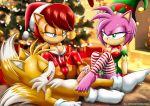"1boy 2girls amy_rose animal_ears blue_eyes breasts brown_hair cameltoe christmas footjob furry green_eyes hair hat headgear looking_at_another male miles_""tails""_prower mobius_unleashed multiple_girls palcomix penis pink_hair sally_acorn short_hair smile sonic_(series) tail"