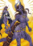 angela big_breasts breasts futanari gargoyles horns intersex penis purple_skin tail wings