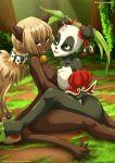 2girls anthro ecaflip feline furry multiple_girls panda pandawa wakfu yuri yuri_haven