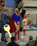 alien ass black_hair blonde_hair boots bottomless bracelet catwoman city cover_up covering_crotch dark_skin dc_comics embarrassing funny gloves hat hood key long_hair no_panties poser prank public short_hair smile supergirl tiara wonder_woman