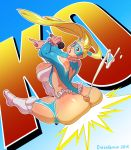 ass assjob back big_ass big_booty blonde_hair blue_eyes boots breasts buttjob cum cumshot dieselbrain domino_mask ejaculation gradient gradient_background heart heart_cutout huge_ass huge_breasts long_hair mask microphone penis projectile_cum rainbow_mika solo street_fighter street_fighter_v sumata thick_thighs thighs twintails uncensored white_legwear wide_hips wrestling_outfit