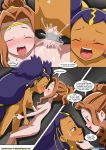 2girls blush breasts crossover cum digimon horny iris iris_(pokemon) lesbian_fantasy_island mimi multiple_girls nude pokemon pussy smile
